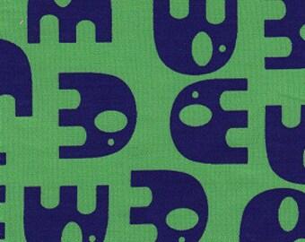 Navy Elephants on Green/ Elephant Print Fabric/ 100% Cotton Fabric