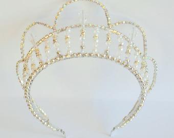Silver rhinestone AB handmade crystal headband tiara, bridal tiara, dancer tiara, prom queen tiara, wedding tiara, hens tiara
