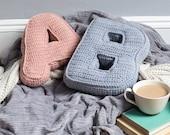 Crochet Pillow, Letter Cushion, Personalised Cushion, Initial cushion, Alphabet Cushion, Knitted Cushion, Gift for her, nursery decor