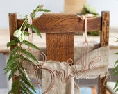 Chairbacks, Bride and groom chair backs, wedding chair backs, wedding chair names, name chair backs, copper chair backs, chairbacks