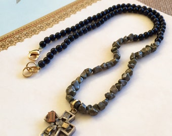 Pyrite, Blue Goldstone and Mixed Metal Cross necklace