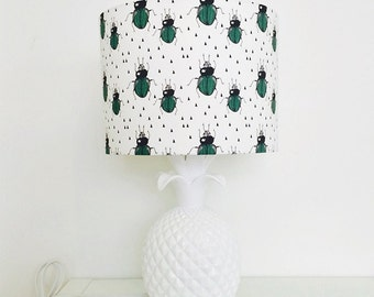 Green & Black Beetle Drum Lampshade for Children's Interior Decor