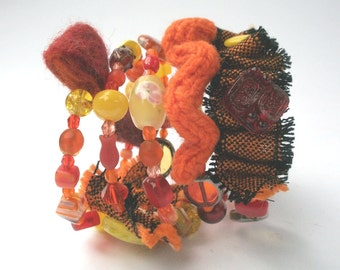 Spiral bracelet orange red yellow frog, textile jewelry, hand-woven fabrics, hand-felted beads, boho, ooak,.