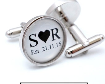 Wedding Initial Cufflinks - Custom Wedding Cufflinks - Groom Cuff links - Personalized Initials and Date