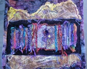 Fiber Art Quilt, Purple Contemporary Quilt, Unique Flower Quilt, Wallhanging Quilt, Textile Art, Home Decor, Gifts for Her, 13x13