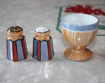 Lovely Lusterware Breakfast Set: 1 Vintage Egg Cup with Petite Striped Salt and Pepper Shakers