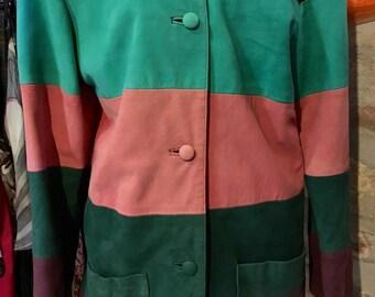 1980's colorful stripes, suede leather jacket, huge shoulder pads. Size S.