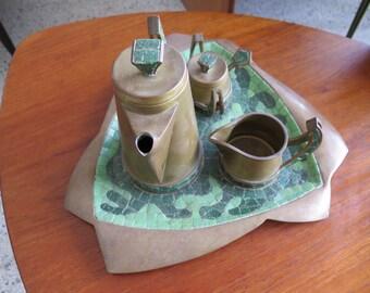 Salvador Teran Modernist Mexican Brass And Tile Tea Set