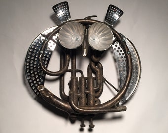 Great Horned Owl - Assemblage Art French Horn Wall Hanging Sculpture