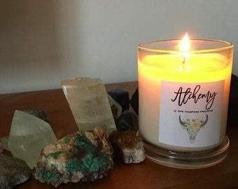 Pure Soy Candle Reiki Charged with Intention for Ritual- Alchemy