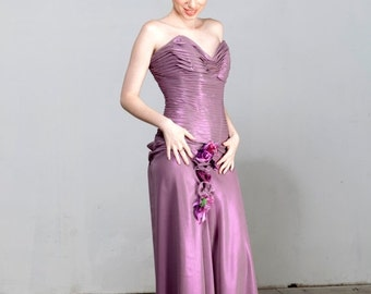 15% OFF VALENTINE SALE Romantic Suit of Charming Corset & Beautiful Long Skirt - all in Amazing Iridescent Lilac Soft Chiffon