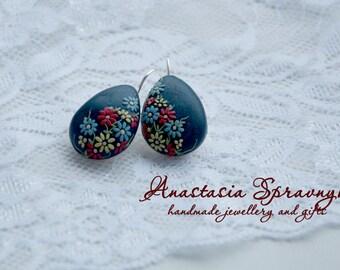 Polymer clay earrings, hand sculpted earrings