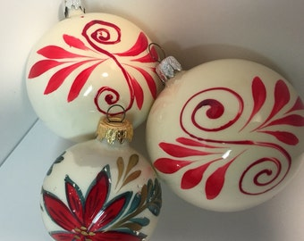 Vintage set of three hand painted West Germany christmas ornaments