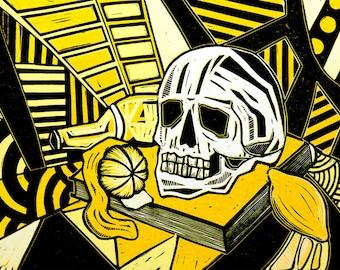Vanitas Still Life Reduction Linocut, 2014, Yellow and Black, (Edition of 6).
