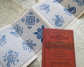 Sajou Red Cross Stitch Album 907- Traditional Motif Designs