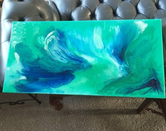 Blu -Blue abstract resin art painting