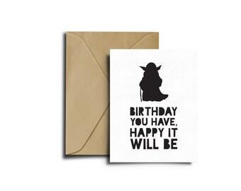 Star Wars Bithday, Yoda Card, Star Wars Birthday Card, Birthday Card, Star Wars Party, Happy Birthday, Princess Yoda Birthday, Print