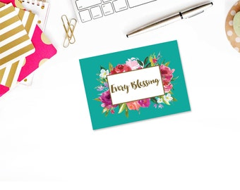 Floral Frame Every Blessing Christian Note Card