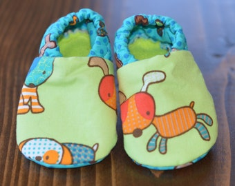 Lime green puppy booties, soft soled, gripper shoes, infant shoes