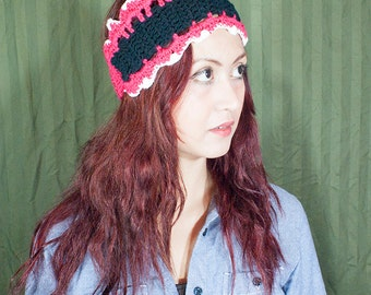 Pink and black hand knit head wrap