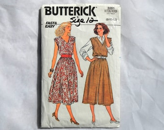 Butterick Fast & Easy Dress and Jumpsuit Pattern 3281 Vintage 1985
