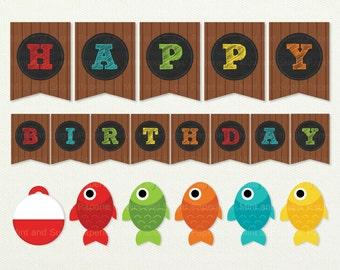 Fishing Happy Birthday Banner - Gone Fishing Banner - Gone Fishing - Fishing Birthday - Fish Birthday Banner - Birthday Banner -Style MSP113