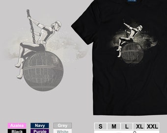 Death Star Wreaking Ball - Funny Adult T-Shirt - Inspired Star Wars Stormtrooper Funny Movie Parody