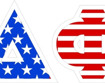delta phi epsilon american flag giant greek letter sticker