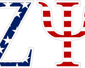 Phi Kappa Psi American Flag Greek Letter Sticker 2 5