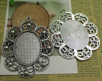 2pcs 30x40mm Oval Cameo Cabochon Base Setting Pendants,Blank Findings Trays,Antique Silver Tone--b2114-B