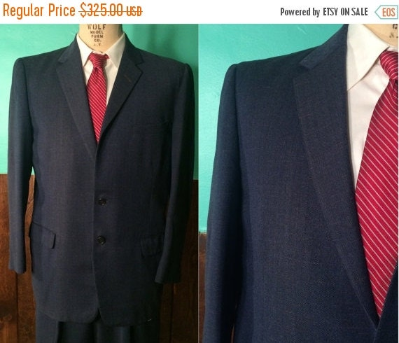 1950s Mens Suit | Indigo Blue 50s Suit with Pink Flecks | Size 42 $195.00 AT vintagedancer.com
