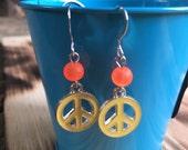 Peace Earrings   | Peace Sign Earrings  | Tween Earrings | Bat Mitzvah Gift | Birthday Gift | Sterling Silver Earring Hooks
