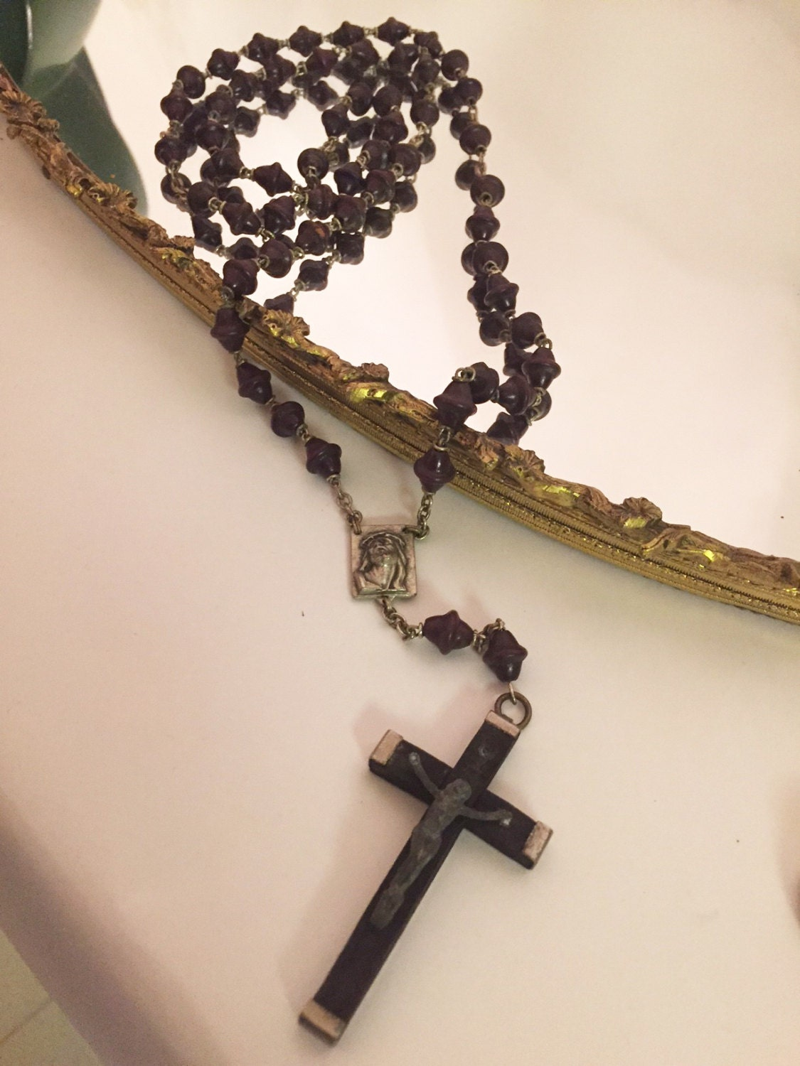Vintage Rosary Beads Antique Rosary Beads Brown Beads