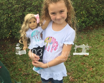 Girl and Doll Matching Shirt Set-Scalloped Monogram in your fabric choice.