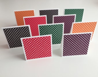 Handmade Set of 10 - 3x3 Mini Note Cards, Stationery, Greeting Cards, Scrapbooking