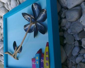 Driftwood painting 3D Driftwood wall art Home decor Wall hanging Beach art Nature