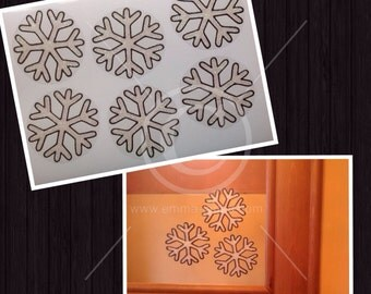 Snowflake window cling Christmas set, for glass & mirror areas, reusable faux stained glass static cling decals, Christmas decal Xmas