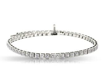 Natural Diamonds Tennis Bracelet, Round Cut Diamond F-G SI2 Bracelet, 14K Gold Wedding Bracelet, 0.50 Carat Total Diamonds, Anniversary Gift
