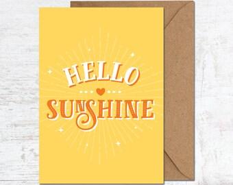 Hello Sunshine Card, Sunshine Postcard, Good Luck Card, Sunshine Card, Birthday Card, Friend Card, Quote Card, Moving Card, Quote Postcard