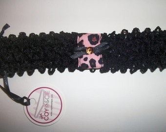 Black headband for girl with pink ribbon