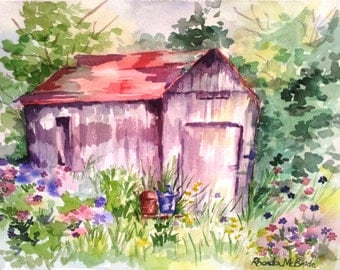 Springtime Barn notecard set; Five watercolor notecards; Holiday gift cards; All-occasion cards; Thank you cards; Barn and floral design