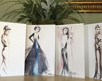 Fashion Illustration Watercolor Notecard Set; Assorted Fashion Notecard Set; High Fashion Notecards; Elegant Fashion Notecards; Notecard Set