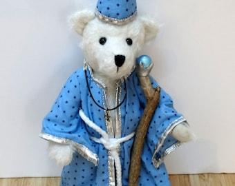 OOAK Artist wizard mohair bear/ Ours d'artiste magicien en mohair