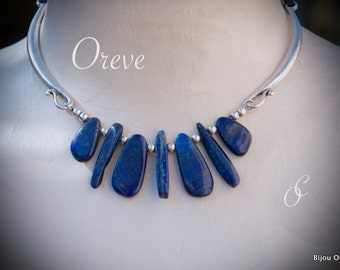 Necklace Lapis Lazuli, leather, silver plating