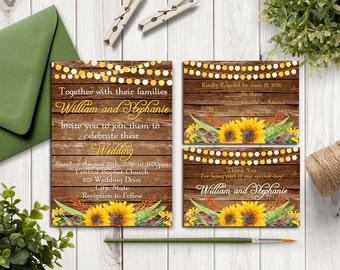 Rustic Wedding Invitation Suite - RSVP Card - Thank You Card - Sunflowers - Digital Printable Invitation