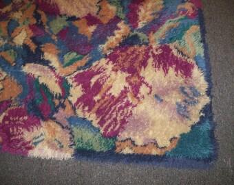 CLEARANCE mid century multi color Rya shag rug 5 x 8