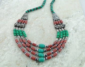 Turquoise Chunky Necklace, Natural Coral Jewelry, Navajo Turquoise Necklace, Homemade Necklaces, Multi Strand Necklace
