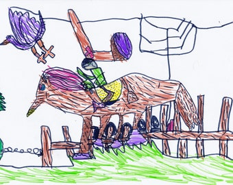 "Child's drawing ""HORSE RIDE"", 600dpi, for print, digital download"
