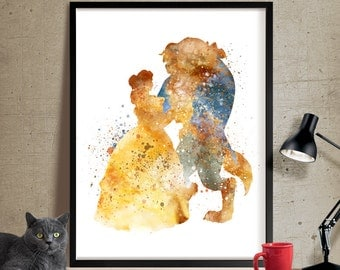 Belle, Beauty and the Beast, Watercolor Art, Disney Princess Poster, Wall Art Print, Watercolor Painting, Kids wall art (182)