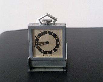 Art Deco Tiny Pop Up Travel Clock Chrome, Green and Black